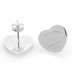 Stainless Steel Cute Heart Brand Stud Earring Gold Rose Gold-Color Women Charm Love Earring Jewelry Gift